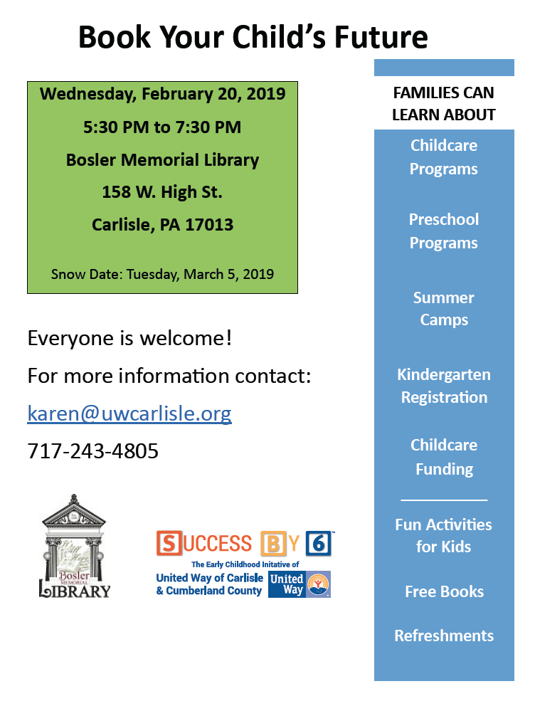 This is a free family event open to the whole community at the Bosler Library. Looking to enroll your son/daughter in summer camp?