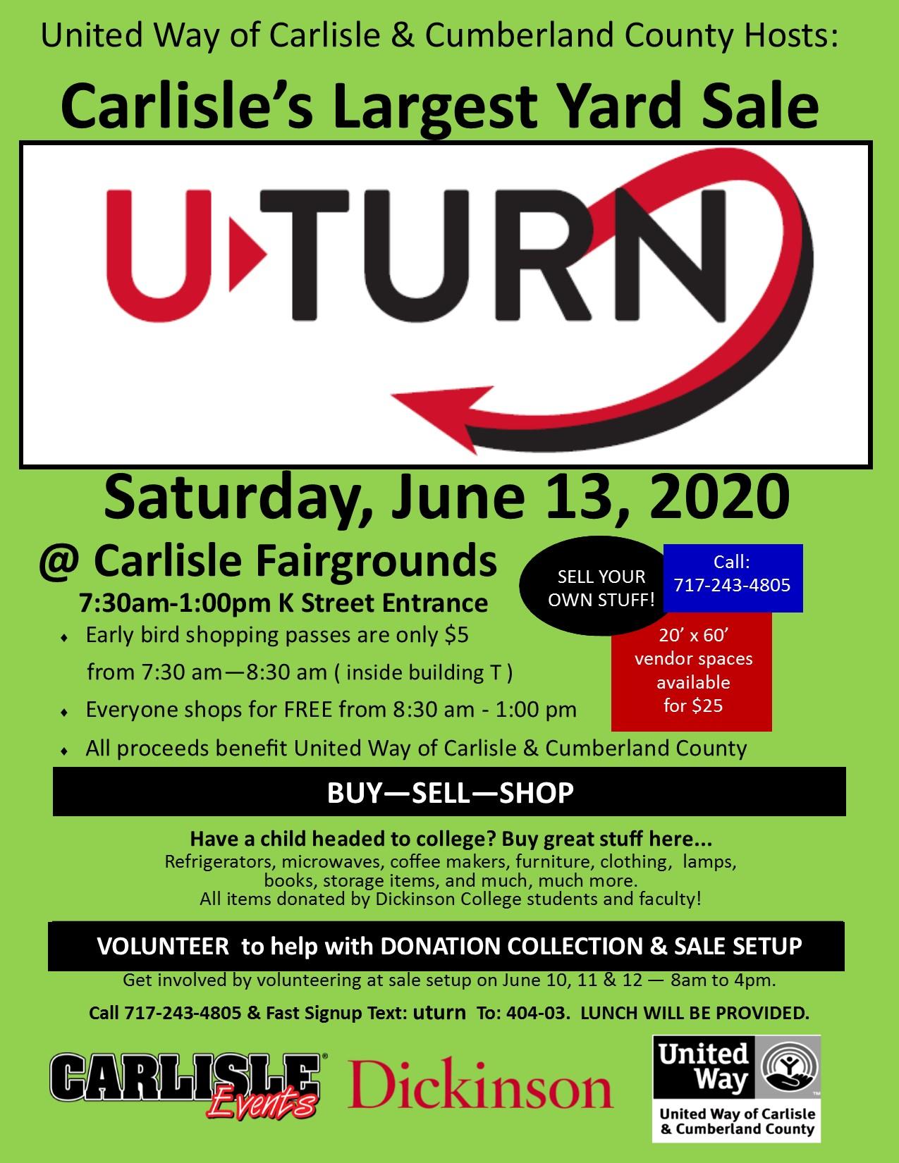 "U-TURN ""Carlisle's Largest Yard Sale"" – Carlisle United Way"